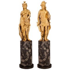 Pair of French 19th Century Neoclassical Style Ormolu and Marble Statues