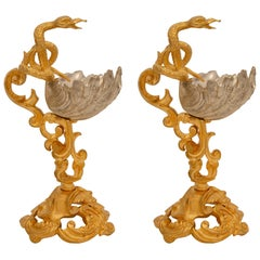 Pair of French 19th Century Neoclassical Style Ormolu and Silvered Bronze Tazzas