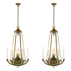 Pair of French 19th Century Neoclassical Style Ormolu and Verdigris Chandeliers