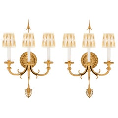 Pair of French 19th Century Neoclassical Style Ormolu Three-Arm Sconces