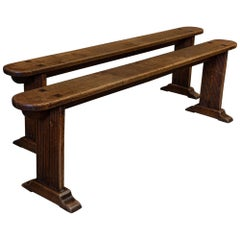 Pair of French 19th Century Oak French Benches