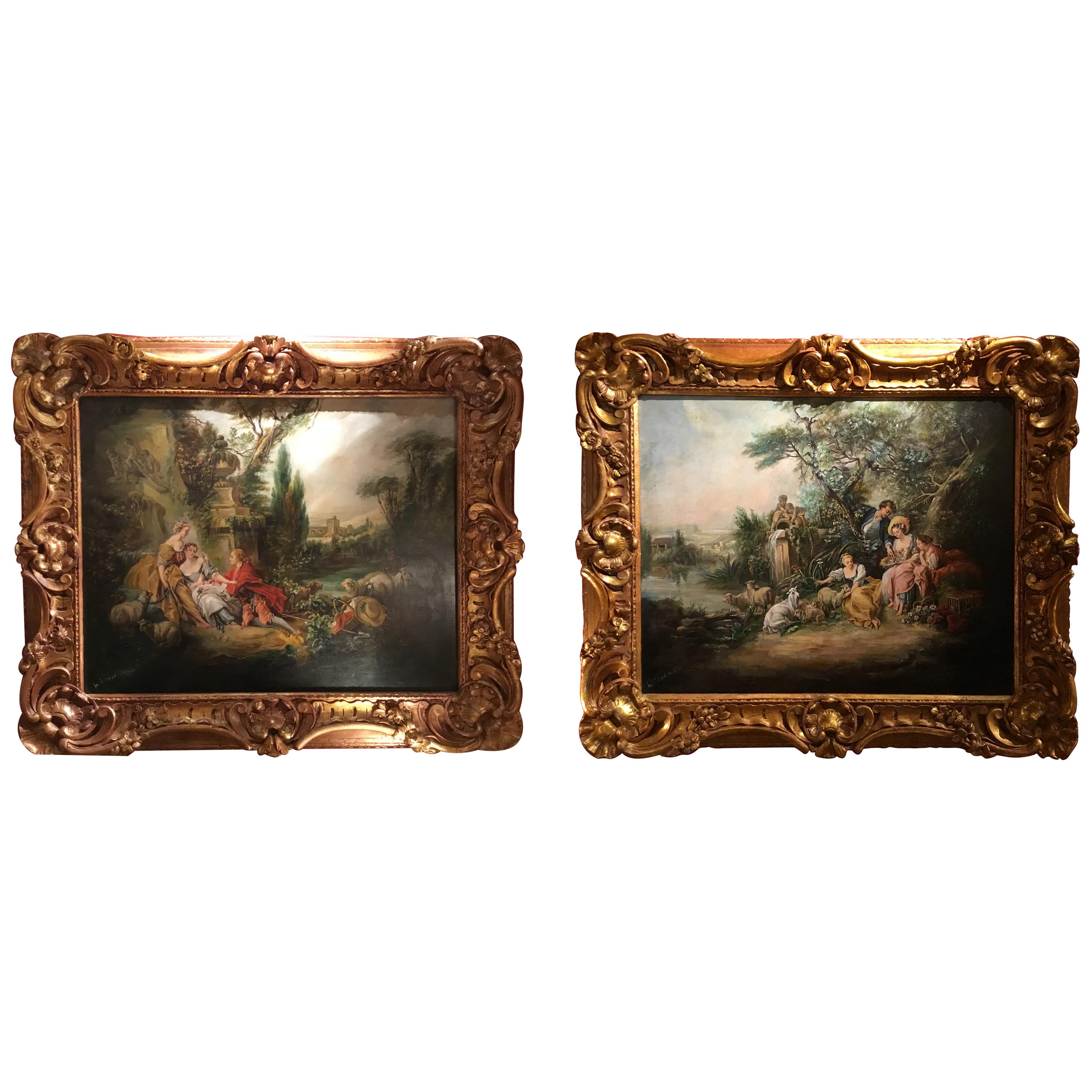 Pair of French 19th Century Oil Paintings after Francois Boucher in Gilt Frames