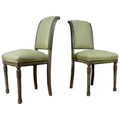 Pair of French 19th Century Original Painted Louis XVI Style Side Chairs