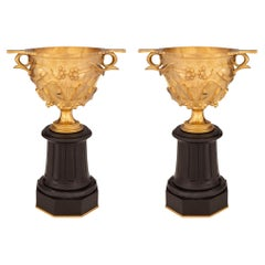 Pair of French 19th Century Ormolu and Black Belgian Marble Tazzas