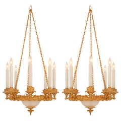 Pair of French 19th Century Ormolu and Etched Frosted Glass Chandeliers