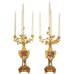 Pair of French 19th Century Ormolu and Marble Candelabras