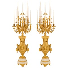 Pair of French 19th Century Ormolu and White Carrara Marble Candelabras