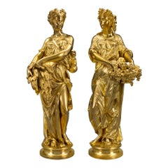 Pair of French 19th Century Ormolu Statues, Signed E. Dubois