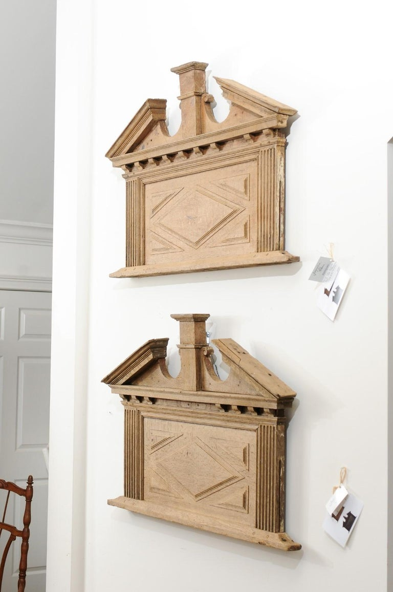 Wood Pair of French 19th Century over Door Panels with Broken Pediments and Pilasters For Sale