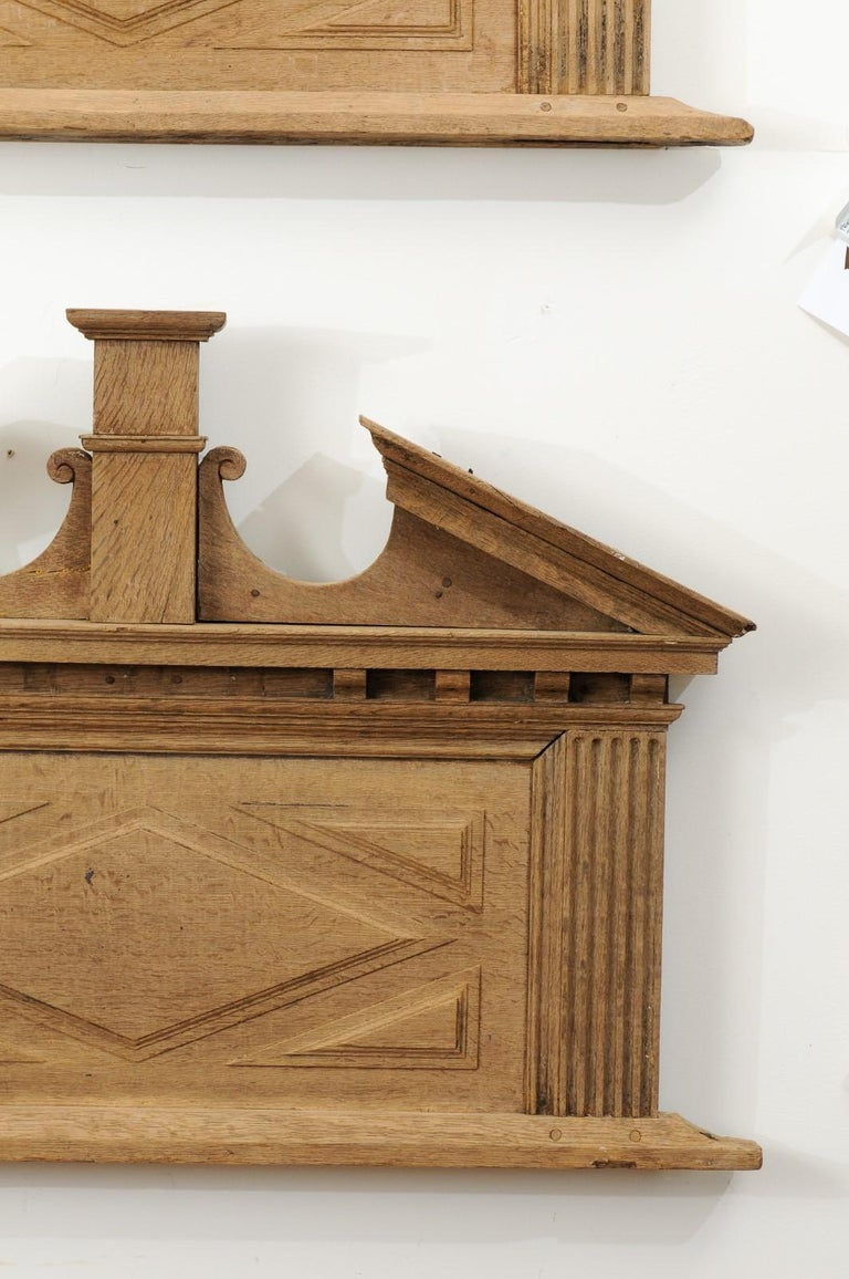 Pair of French 19th Century over Door Panels with Broken Pediments and Pilasters For Sale 3