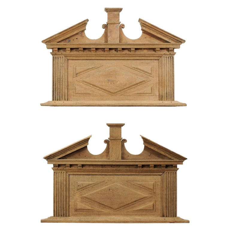 Pair of French 19th Century over Door Panels with Broken Pediments and Pilasters For Sale
