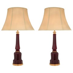 Pair of French 19th Century Oxblood Colored Glass and Ormolu Lamp