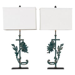 Pair of French 19th Century Painted Iron Custom Lamps