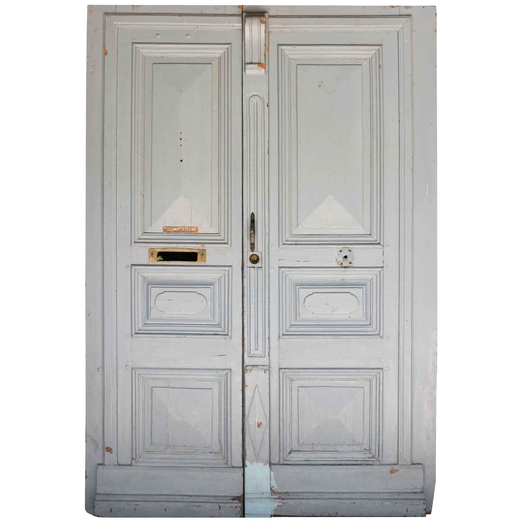 Pair of French 19th Century Painted Pine Doors