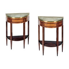 Pair of French 19th Century Parquetry Demilune Side Tables