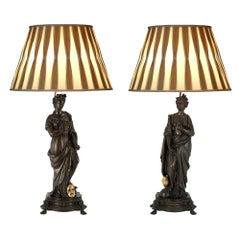 Pair of French 19th Century Patinated Bronze and Ormolu Lamps