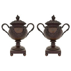 Pair of French 19th Century Patinated Bronze Pot Pourri Pots/Candlestick Holders