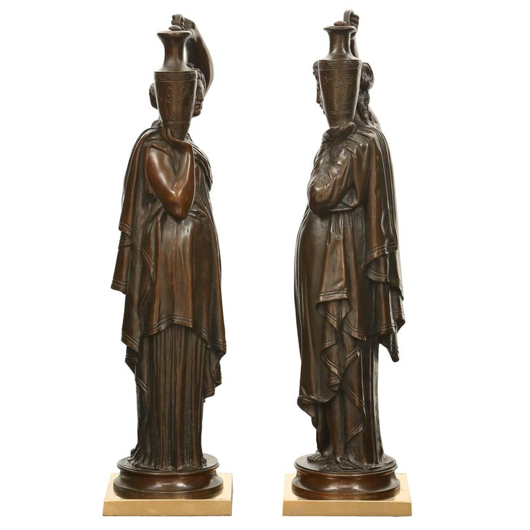 Pair of French 19th Century Patinated Bronze Signed Statues In Good Condition For Sale In West Palm Beach, FL