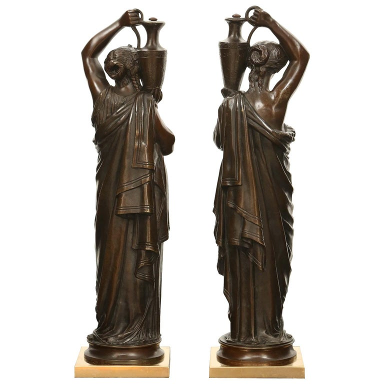 Pair of French 19th Century Patinated Bronze Signed Statues For Sale 1