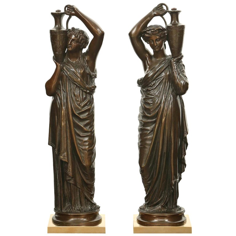 Pair of French 19th Century Patinated Bronze Signed Statues For Sale