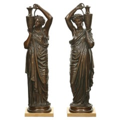 Pair of French 19th Century Patinated Bronze Signed Statues