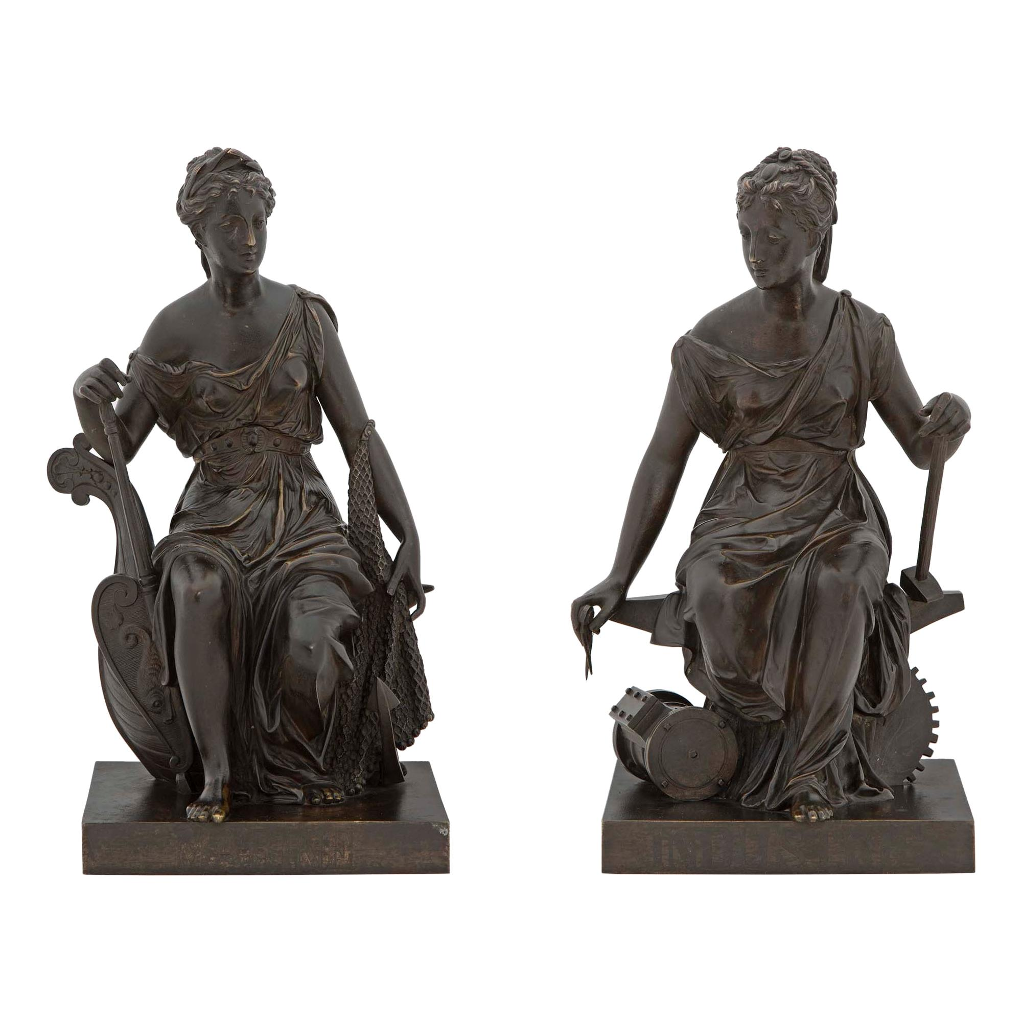 Pair of French 19th Century Patinated Bronze Statues