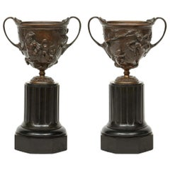 Pair of French 19th Century Patinated Bronze Tazzas