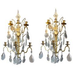 Pair of French 19th Century Polished Bronze and Crystal Sconces
