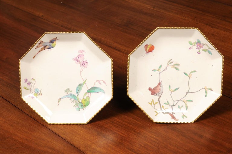 Pair of French 19th Century Porcelain Compotes with Painted Birds and Flowers For Sale 8