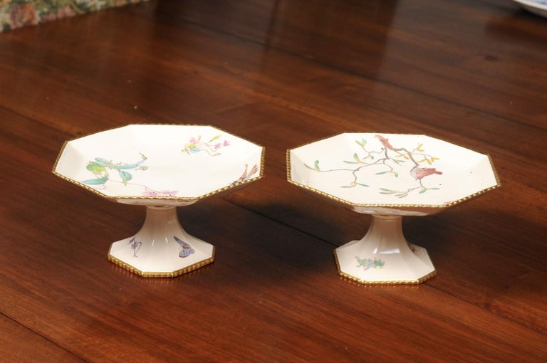 Pair of French 19th Century Porcelain Compotes with Painted Birds and Flowers For Sale 3