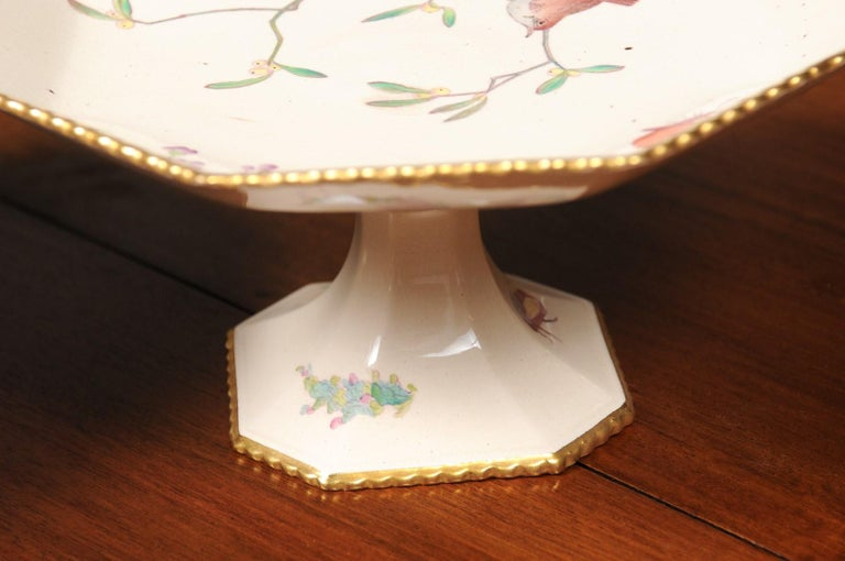 Pair of French 19th Century Porcelain Compotes with Painted Birds and Flowers For Sale 5