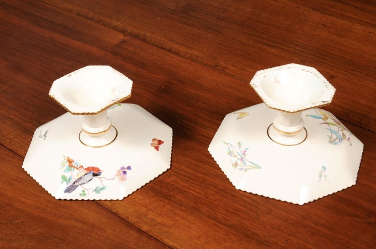 Pair of French 19th Century Porcelain Compotes with Painted Birds and Flowers For Sale 6