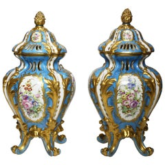 Pair of French 19th Century Porcelain Decorated Perfumers Vases Manner of Sevres