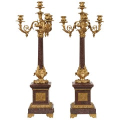 Pair of French 19th Century Porphyry and Ormolu Candelabra in Louis XVI Manner