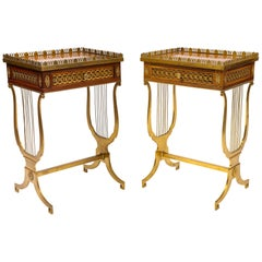 Pair of French 19th Century Rectangular Shaped Side Tables with Bronze Lyre Legs