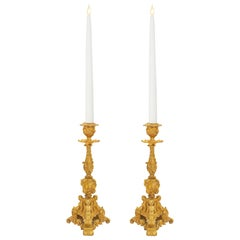 Pair of French 19th Century Regence St. Ormolu Candlesticks