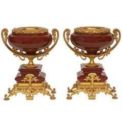 Pair of French 19th Century Renaisance Style Rouge Griotte and Ormolu Urns