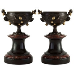 Pair of French 19th Century Renaissance St. Bronze, Ormolu and Marble Tazzas