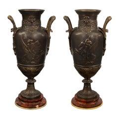 Pair of French 19th Century Renaissance St. Bronze Urns, Signed Leon Boucher