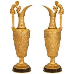 Pair of 19th Century Renaissance Style Ormolu and Black Belgian Marble Ewers