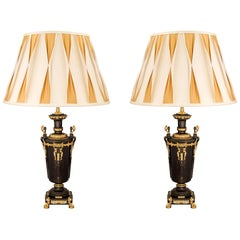 Pair of French 19th Century Renaissance St. Patinated Bronze and Ormolu Lamps