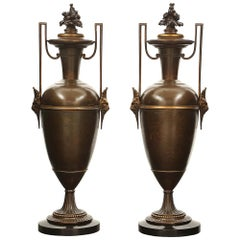Pair of French 19th Century Renaissance St. Patinated Bronze and Ormolu Urns