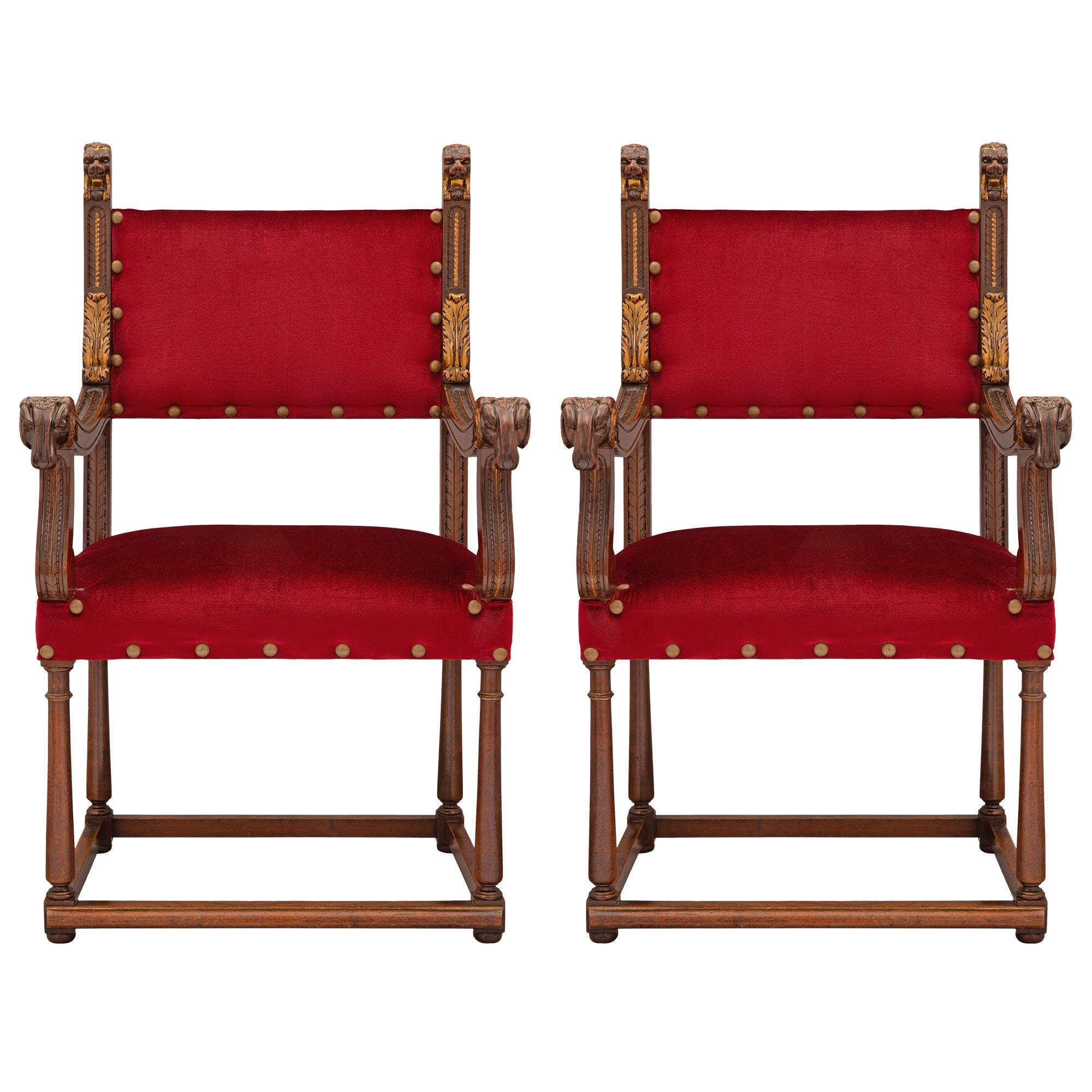 Pair of French 19th Century Renaissance St. Walnut and Giltwood Armchairs