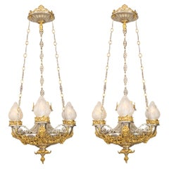 Pair of French 19th Century Renaissance Style Bronze and Ormolu Chandeliers