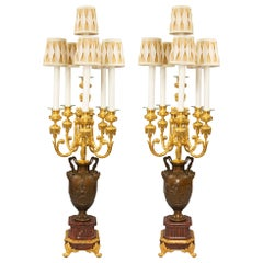 Pair of French 19th Century Renaissance Style Bronze Lamps, Signed Barbedienne