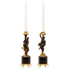 Pair of French 19th Century Renaissance Style Bronze, Ormolu Candlesticks