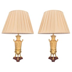 Pair of French 19th Century Renaissance Style Marble and Ormolu Lamps