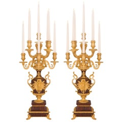 Pair of French 19th Century Renaissance Style Nine-Arm Candelabras