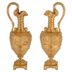 Pair of French 19th Century Renaissance Style Ormolu Ewers