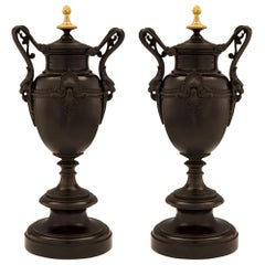 Pair of French 19th Century Renaissance Style Patinated Bronze and Ormolu Urns